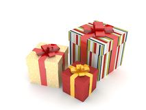 Gift boxes with 2015 Merry Christmas and Happy New Year. Isolated on white Royalty Free Stock Image