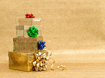 Gift boxes with multicolor ribbon bow. Holidays concept Royalty Free Stock Photo