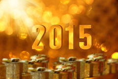 Gift boxes with 2015. Royalty Free Stock Images