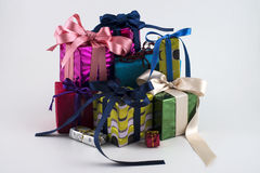 Gift boxes on new year Stock Photo