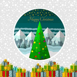 Gift-boxes new year tree mountains in circle frame. Christmas background Stock Photos