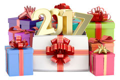 Gift Boxes with 2017, New Year and Xmas concept. 3D rendering. Gift Boxes with 2017, New Year and Christmas concept. 3D rendering on white background Royalty Free Illustration