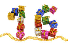 Gift boxes numeral 16 Stock Photo