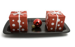 Gift Boxes On A Plate Royalty Free Stock Photos