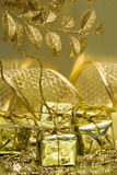 Gift Boxes On Golden Royalty Free Stock Photo