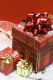 Gift Boxes On Red Background Royalty Free Stock Images