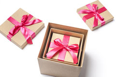 Gift Boxes Into One Another Stock Images