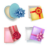 Gift boxes with open covers realistic colorful set on white Stock Image