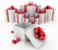 Gift boxes and open gift box Stock Images