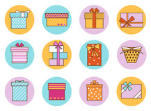 Gift Boxes Outline Color Set. Vector Stock Image