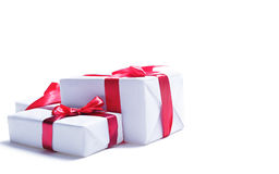 Gift boxes over white Royalty Free Stock Photography
