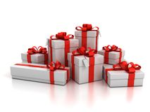 Free Gift Boxes Over White Background Stock Photo - 16279910