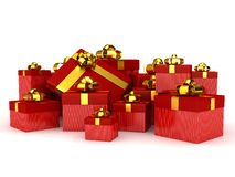 Gift boxes over white background. Computer generated image Royalty Free Stock Images