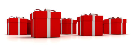 Gift boxes over white background 3d illustration Stock Photos