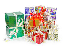 Gift boxes pack with bows Royalty Free Stock Image