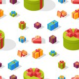 Gift boxes pack composition event greeting isometric birthday seamless pattern background vector illustration. Gift boxes anniversary event satin greeting Royalty Free Stock Photography
