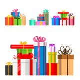Gift boxes pack composition event greeting object birthday isolated on white vector illustration. Royalty Free Stock Images