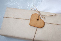 Gift boxes are packed in kraft paper Stock Photo