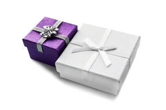 Gift boxes. Pair of gift boxes on white background Stock Photo