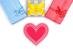 Gift boxes with paper heart Stock Images