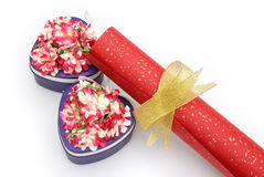 Gift boxes and paper scroll Royalty Free Stock Image