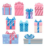 Gift boxes in pastel colors vector illustration set Stock Photos