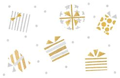 Gift boxes pattern paper cut on white background. Isolated royalty free illustration