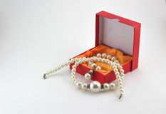 Gift boxes and Pearl necklace Royalty Free Stock Photo