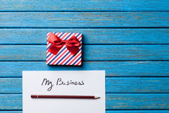 Gift boxes, pencil and paper with My Business words Stock Photos