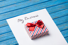 Gift boxes, pencil and paper with My Business words Stock Photography