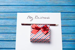 Gift boxes, pencil and paper with My Business words Royalty Free Stock Photo