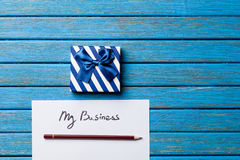 Gift boxes, pencil and paper with My Business words Royalty Free Stock Photography