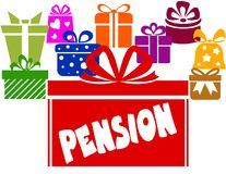 Gift boxes with PENSION text. Royalty Free Stock Photo