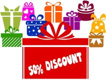 Gift boxes with 50 PERCENT DISCOUNT text. Illustration image concept Royalty Free Stock Photo