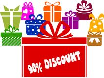 Gift boxes with 90 PERCENT DISCOUNT text. Illustration image concept Royalty Free Stock Photo