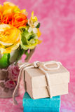 Gift boxes on a pink background. Royalty Free Stock Photos