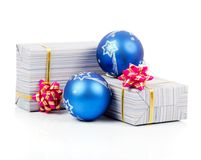 Gift boxes with pink bow and blue balls Stock Photo