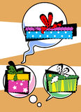 Gift boxes in Pop-Art speech bubbles Stock Image