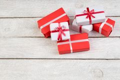 Gift boxes and present for christmas on wood table. Top view with copy space. Gift boxes and present for christmas on wood table Royalty Free Stock Photo