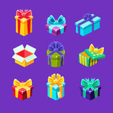 Gift Boxes With And Without A Present Inside Decorative Wrapped Cardboard Boxes Collection. Colorful Isolated Icons With Party And Other Celebrations Festive Stock Photography