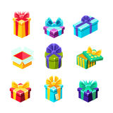 Gift Boxes With And Without A Present Inside Decorative Wrapped Cardboard Boxes Collection. Colorful Isolated Icons With Party And Other Celebrations Festive Stock Photos