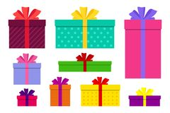 Free Gift Boxes, Presents Isolated Set Vector. Flat Surprise Box With Bows On Holiday. Set Of Giftbox, Present Icon For Birthday, Stock Photography - 165965522