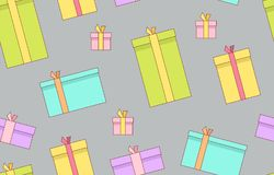 Gift boxes. presents, surprises. Seamless pattern. Isolated on gray background Royalty Free Stock Photography