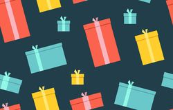 Gift boxes. presents, surprises. Seamless pattern. Isolated on dark background Stock Photo