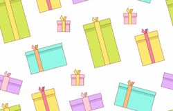Gift boxes. presents, surprises. Seamless pattern. Isolated on white background Royalty Free Stock Photos