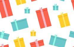 Gift boxes. presents, surprises. Seamless pattern. Isolated on white background Stock Photography