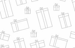 Gift boxes. presents, surprises. Seamless pattern, thin line style. Isolated on white background Stock Images