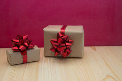 Gift boxes on red background Royalty Free Stock Photo