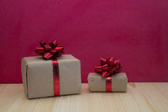 Gift boxes on red background Royalty Free Stock Image