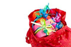 Gift boxes in a red bag Stock Image